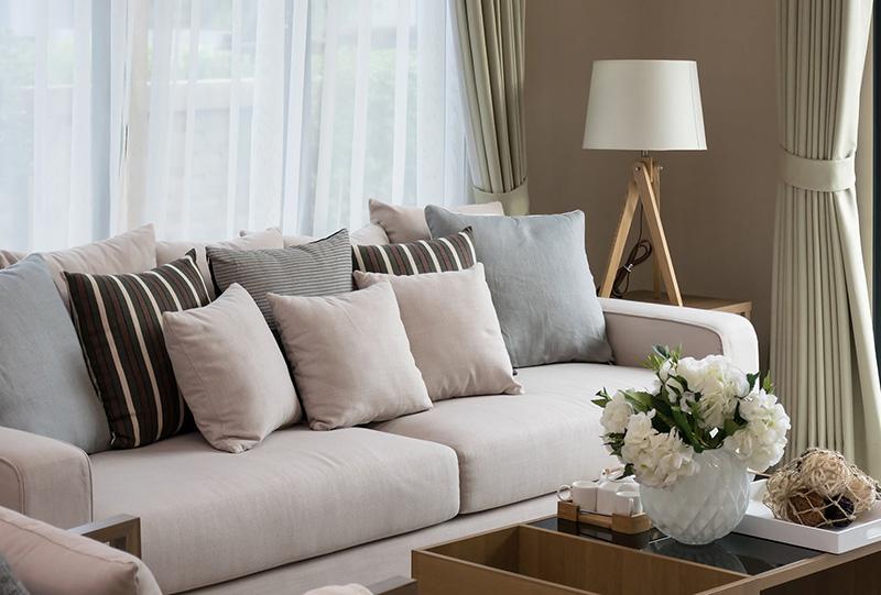 Foto di divano e cuscini con tessuto Tempotest Parà